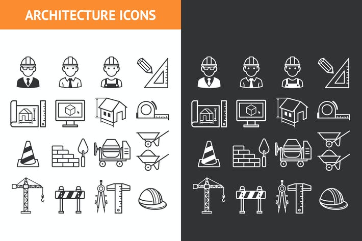 Thumbnail for Architecture Construction Building Icon Set.