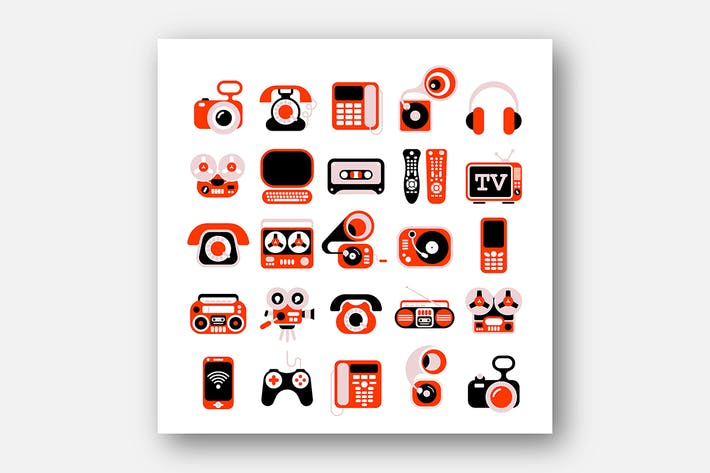 Cover Image For Electronic Devises Vector Icon Set