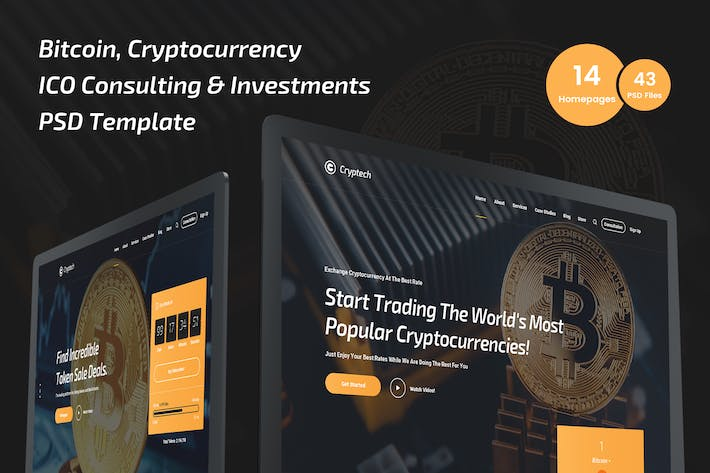 Thumbnail for Cryptech Bitcoin, Cryptocurrency PSD Template