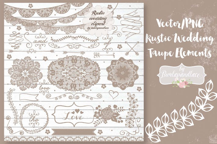 Cover Image For Vector/PNG  Rustic Wedding Taupe Elements