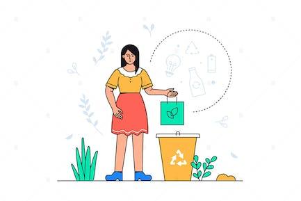 Waste Sorting -  Flat Illustration