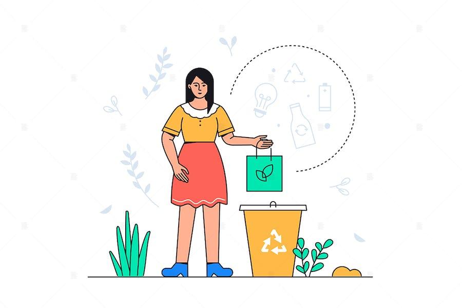 Sortierung von Abfällen - Flache Illustration