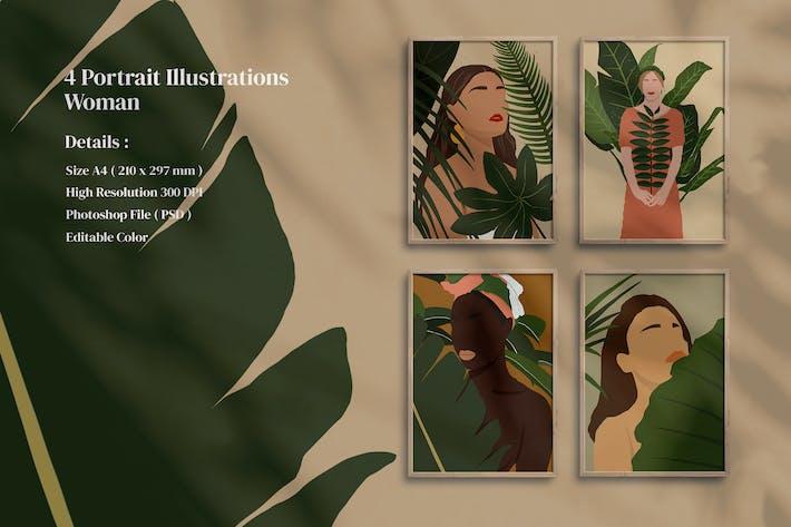 Thumbnail for 4 Portrait Illustrations Woman print