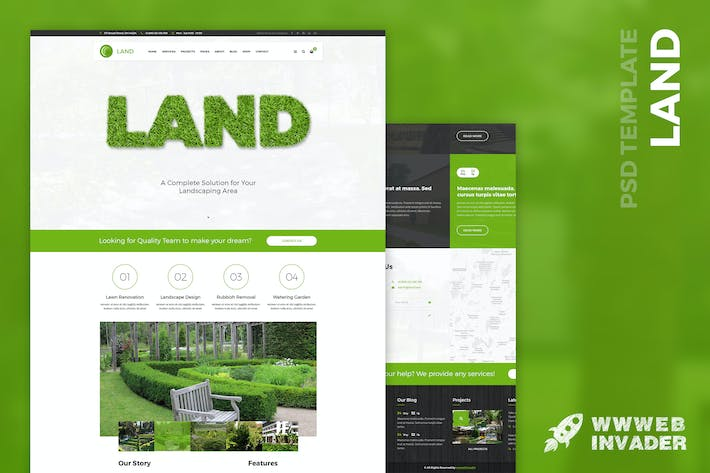 Thumbnail for Land - Lawn & Landscaping PSD Template