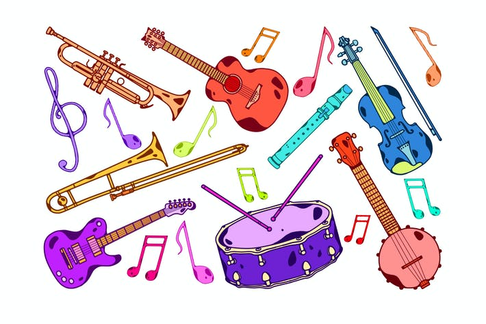 Cover Image For Colorful Instruments Clipart