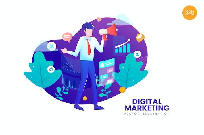 Cover Image For Digital Marketing Vector Illustration Concept