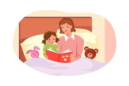 Mère lit l'histoire du coucher pour mettre son enfant au lit