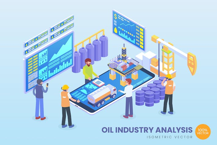 Thumbnail for Isometric Oil Industry Analysis Vector Concept
