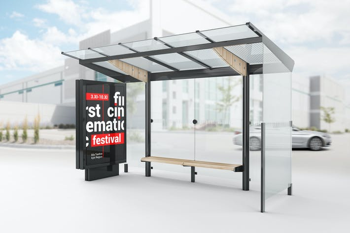 Cover Image For Bus Stop Lightbox Mockup
