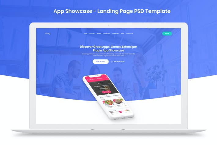 Cover Image For App Showcase - Landing Page PSD Template