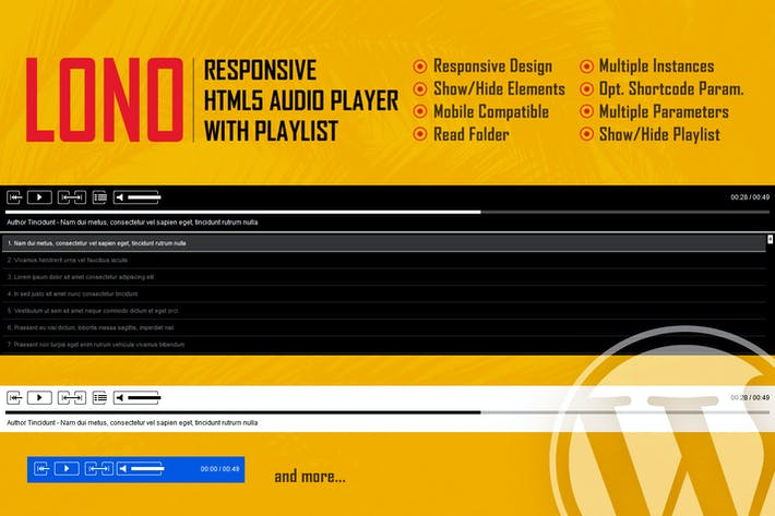 Thumbnail for Lono - Responsive HTML5 Audio Player With Playlist