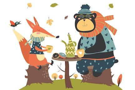 Lindo zorro con oso bebiendo té