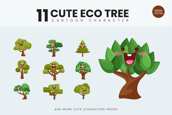 Thumbnail for 11 Cute Eco Tree Vector Illustration Vol.1
