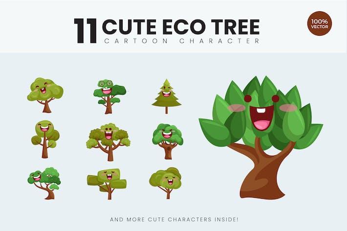 Thumbnail for 11 Cute Eco Tree Vektor Illustration Vol.1