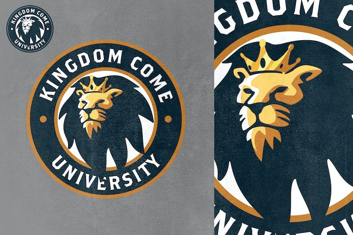 Cover Image For Gold Crowned Lion Mascot Logo