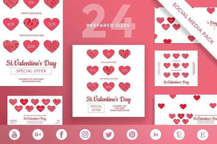 Thumbnail for Valentine's Day Social Media Pack Template