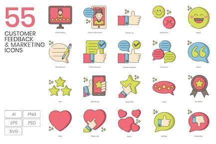 55 Kundenfeedback & Marketing Line Icons