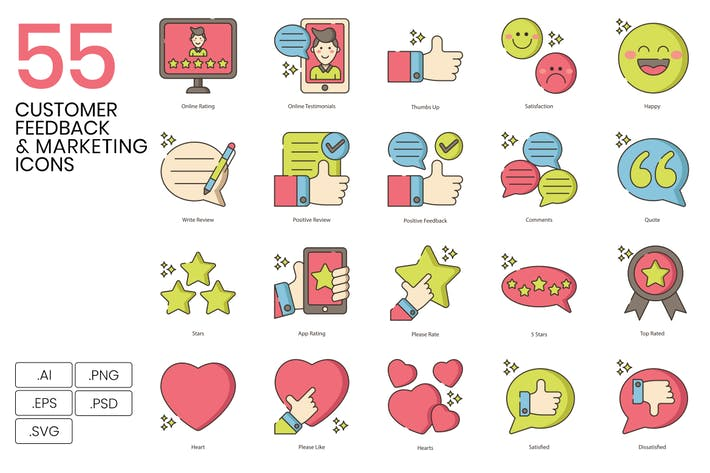 Thumbnail for 55 Kundenfeedback & Marketing Line Icons