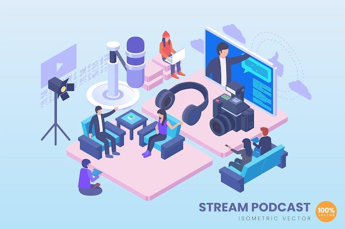 Thumbnail for Isometric Stream Podcast Illustration Concept