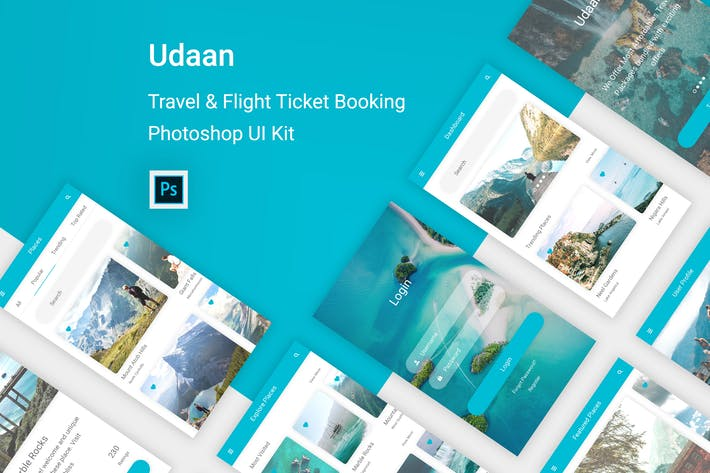 Cover Image For Udaan - Travel & Flight Booking App for Photoshop