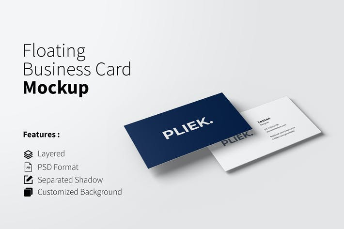 Thumbnail for Floating Business Card Mockup