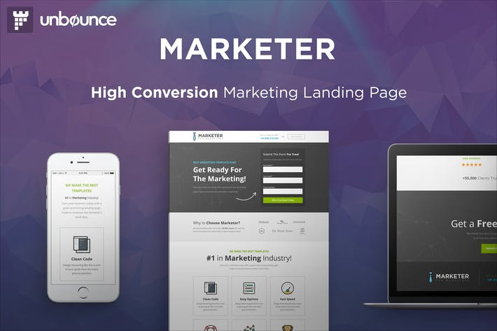 Thumbnail for Marketer - Premium Marketing Unbounce Template