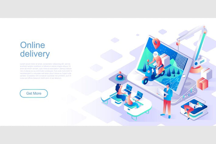 Thumbnail for Online Delivery Isometric Flat Concept Header