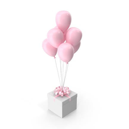Gift Box with Pink Ribbon and Pink Balloons