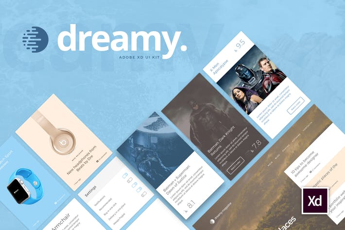 Thumbnail for Dreamy UI Kit for Adobe XD