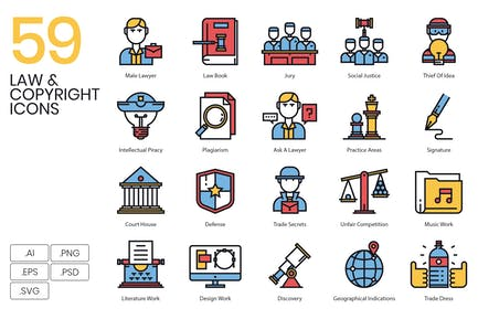 59 Rechts- und UrheberrechtsIcons