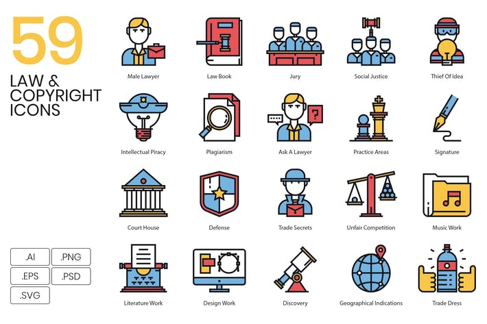 Thumbnail for 59 Law & Copyright Icons