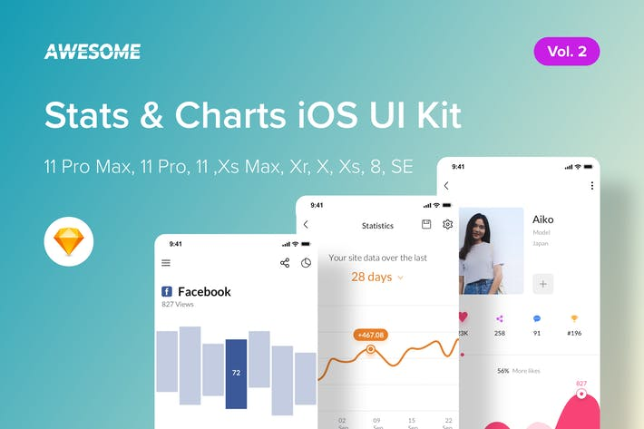 Thumbnail for Awesome iOS UI Kit - Stats, Charts Vol. 2 (Sketch)