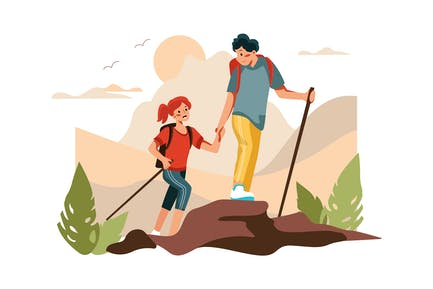 Hiking - Outdoor Activities Illustration concept