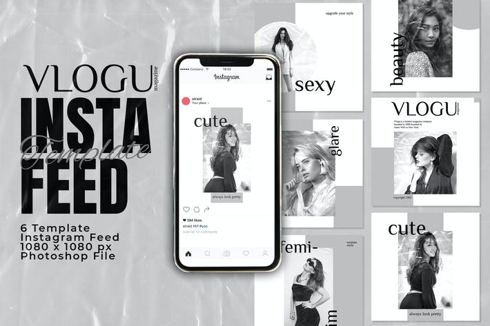 Vlogu Magazine Instagram Feed Post Plantilla