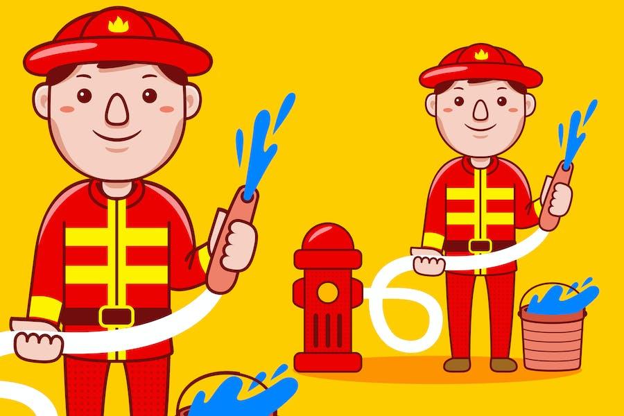 Fire Fighter Profession Cartoon Vector