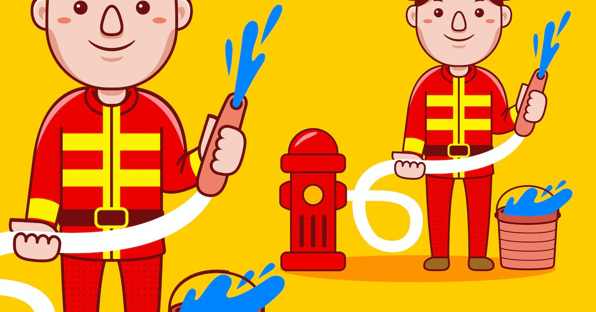 Download Fire Fighter Profession Cartoon Vector by medzcreative