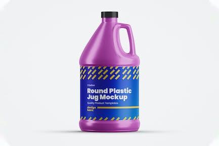 Round Plastic Jug Mockup
