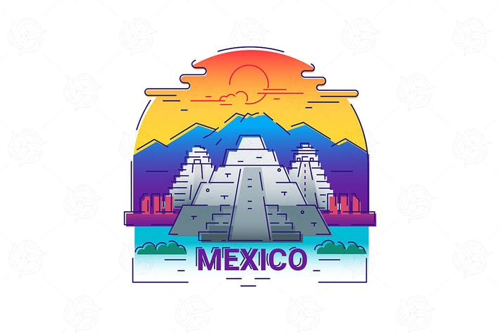Thumbnail for Mexico - modern vector line travel illustration
