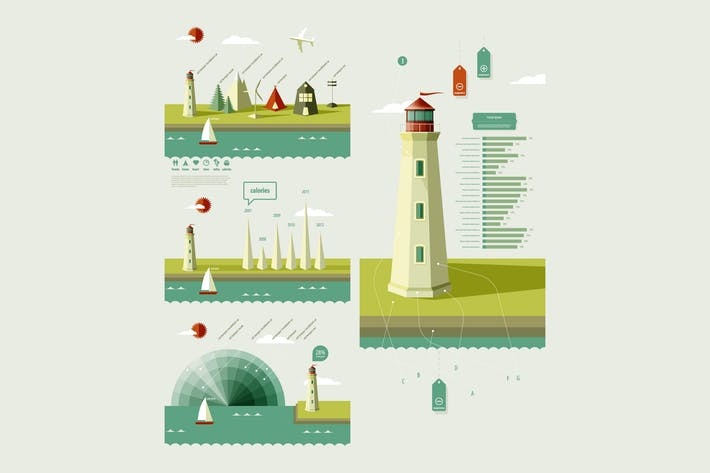 Thumbnail for infographics elements with a lighthouse