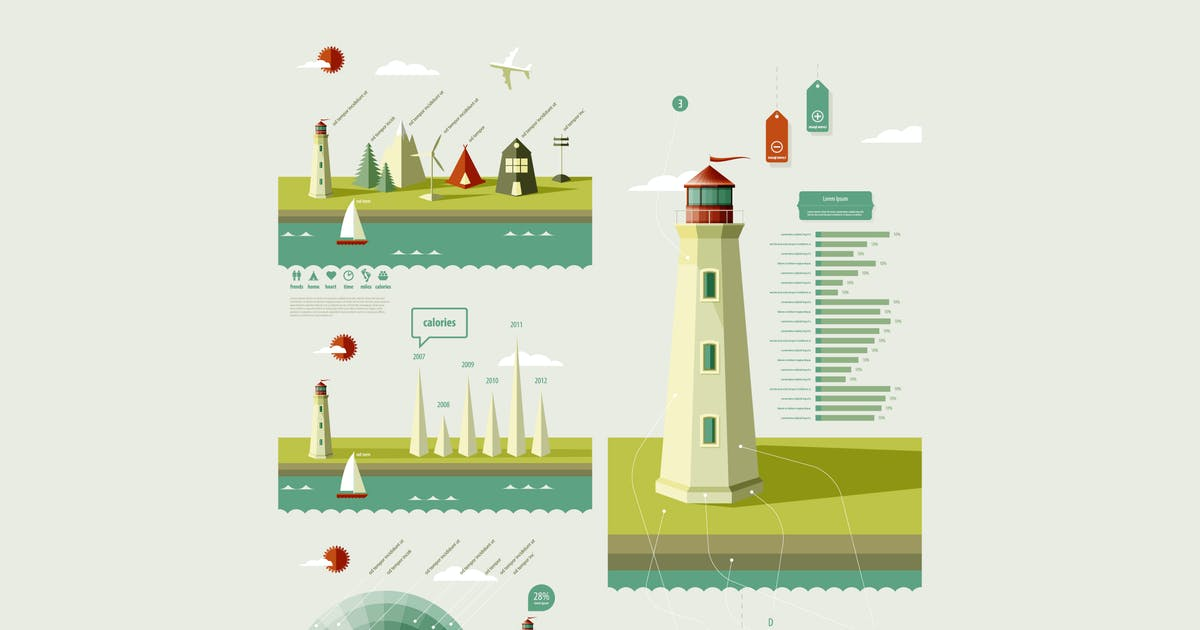 Download infographics elements with a lighthouse by fet