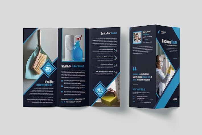 Broschüre zum Reinigungshaus Trifold