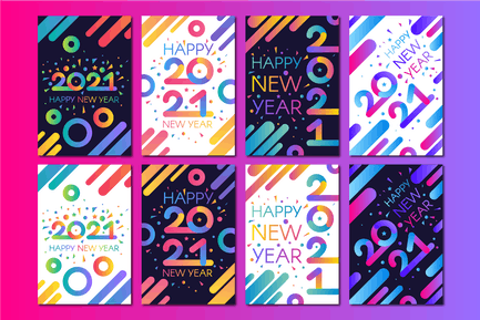 Modern Happy New 2021 Year Banners Set