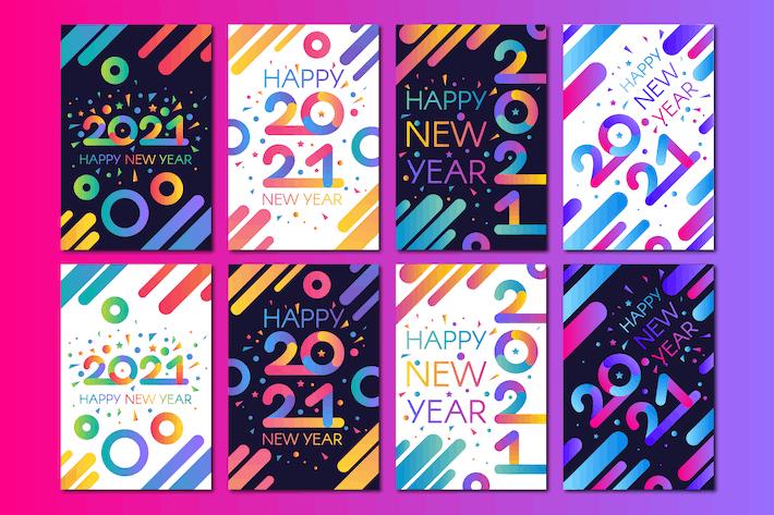 Thumbnail for Ensemble de bannières modernes Happy New 2021 ans