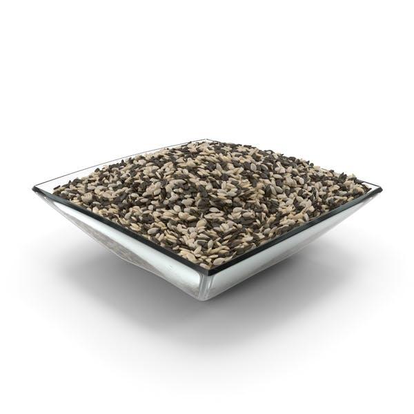Cuenco cuadrado con semillas de sésamo