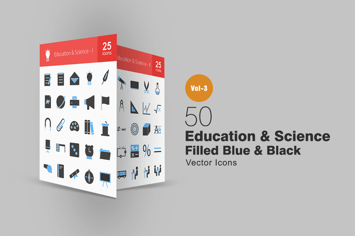Thumbnail for 50 Education & Science Blue & Black Icons
