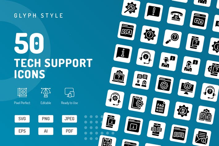 Thumbnail for Tech Support Glyph Icons