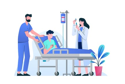 Doktor & Krankenschwester injizieren Impfstoff an den Patienten
