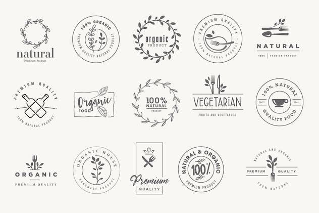 Set of stickers and badges for organic products