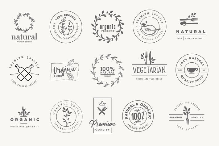 Thumbnail for Set of stickers and badges for organic products