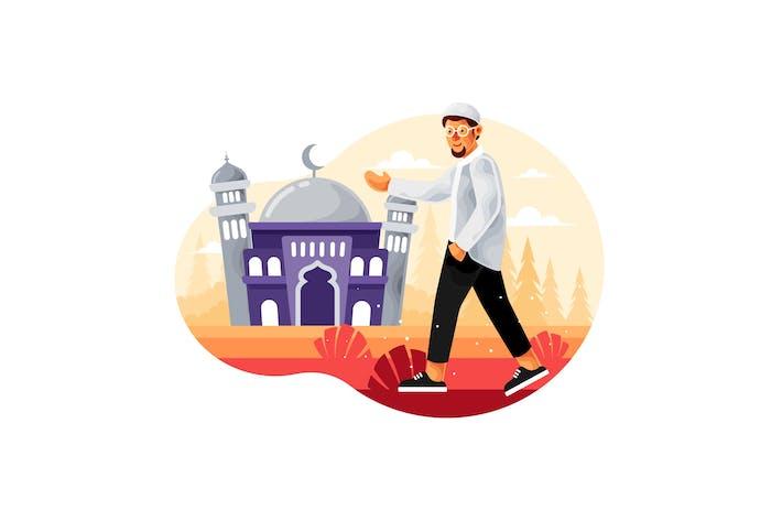Los musulmanes caminan a la mezquita para rezar